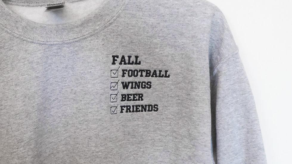 Football Wings Friends Beer Fall Crew Neck Sweatshirt