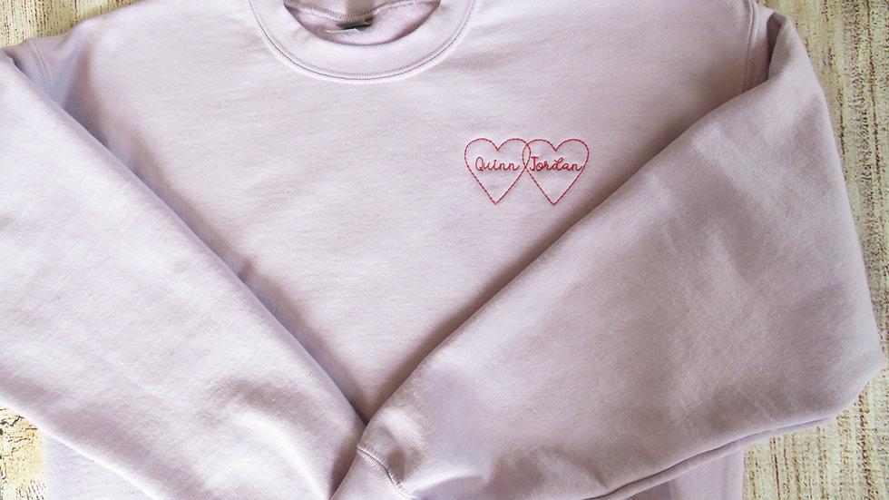 Personalized Intertwined Hearts Sweatshirt Embroidered Fleece Sweatshirt Name Wo