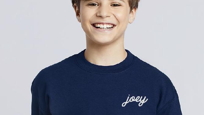 Personalized Youth Sweatshirt Embroidered Fleece Sweatshirt