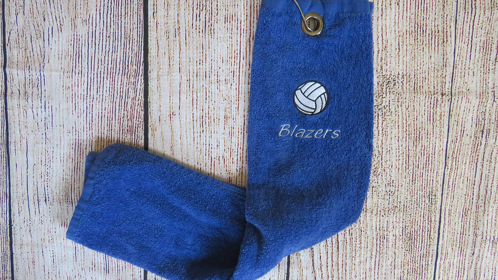 Personalized Volleyball Towel with Grommet and Hook Add Name