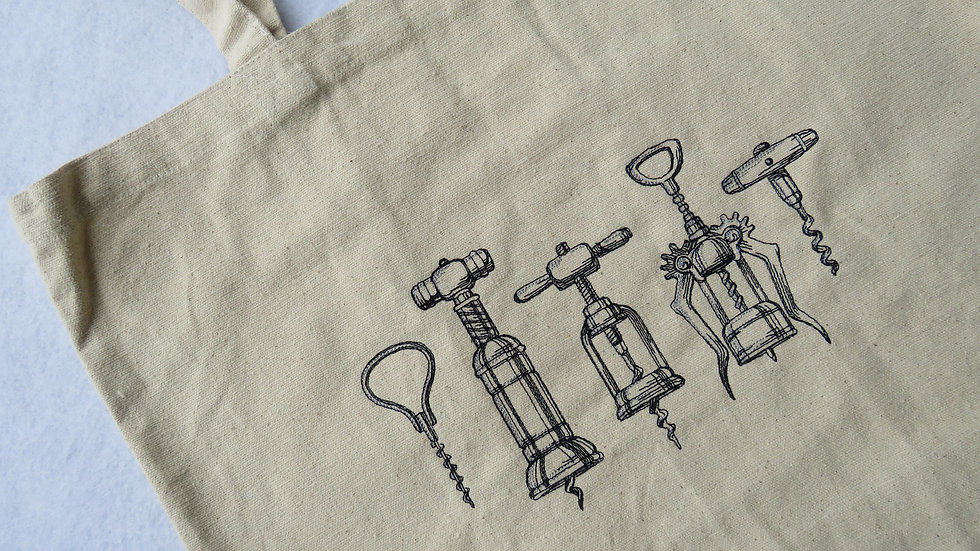 Cork Screw Wine Gift Tote Bag Large Tote Bag with Gusset Bottom