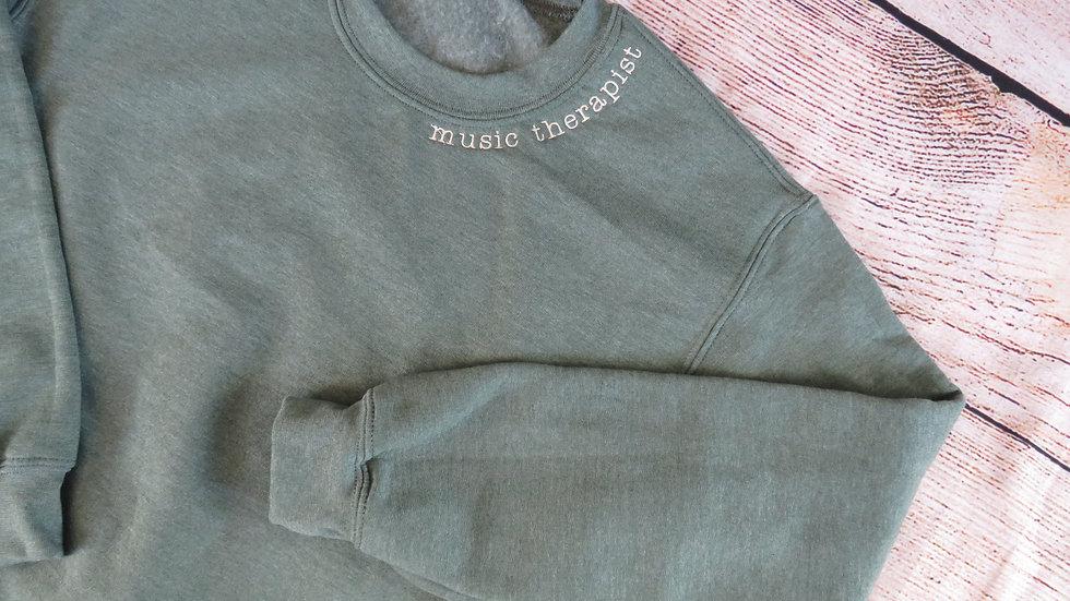 Personalized Sweatshirt Embroidered Neckline Fleece Sweatshirt Name Word Phrase