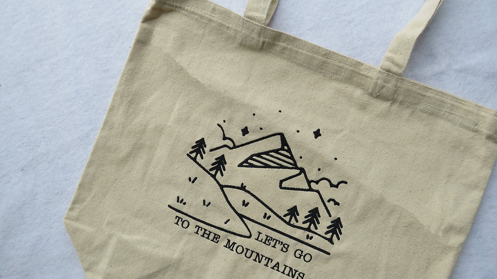 Let's Go To The Mountains Tote Bag Large Tote Bag with Gusset Bottom
