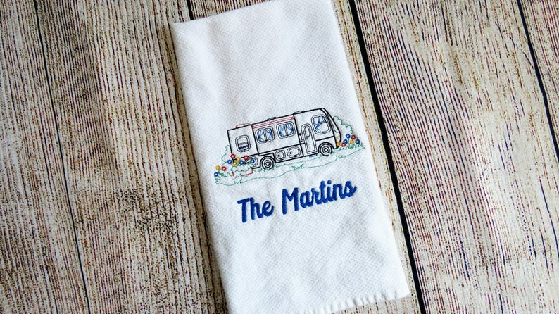 Personalized Camper Hand Towel Dish Towel