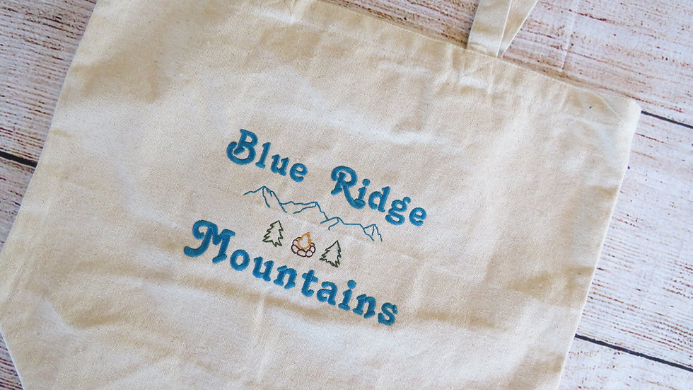 Blue Ridge Mountains Canvas Tote Bag Large Tote Bag with Gusset Bottom