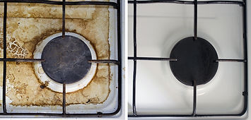 Kitchen dirty and clean gas stove close