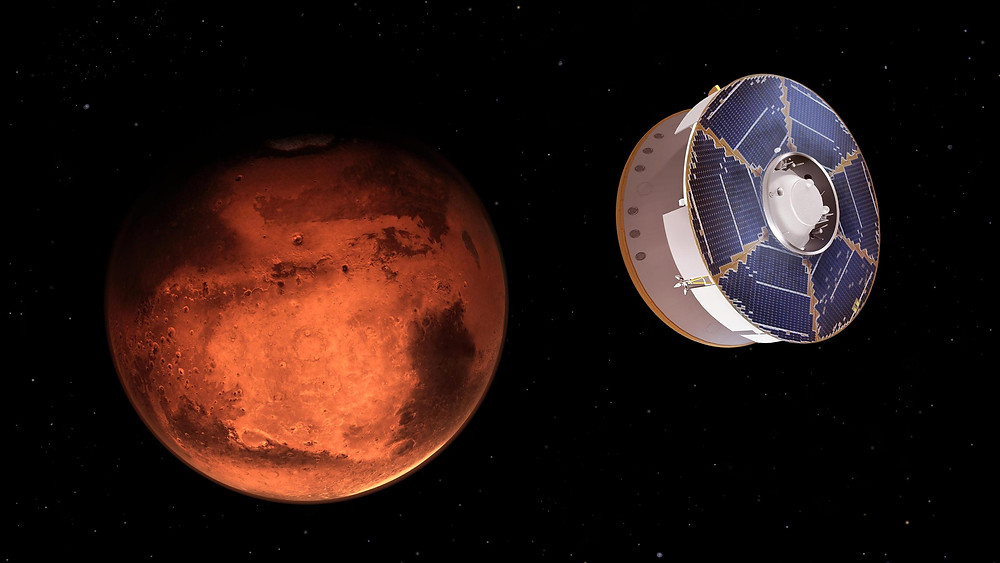 This illustration shows NASA's Mars 2020 spacecraft carrying the Perseverance rover as it approaches Mars.