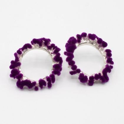 Silver Earrings with Plüsch – Purple