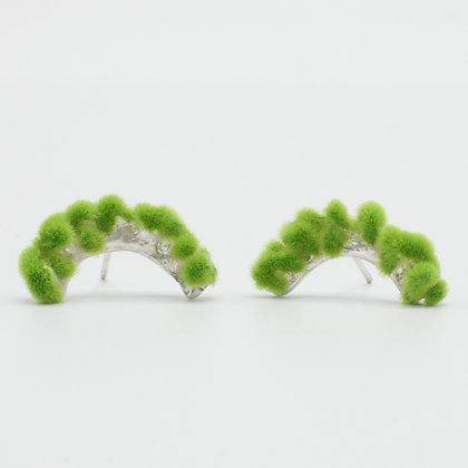 Silver Earrings with Plüsch – Pistachio