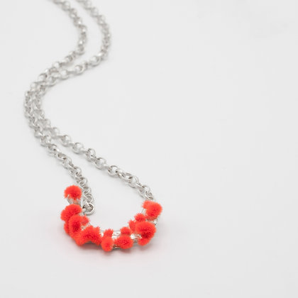 Silver Necklace with Plüsch - Neon Red