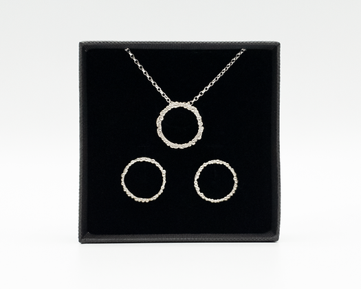 Dewy Spider Web - Circle Set of Necklace + Earrings