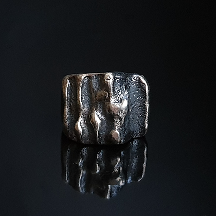 Oxidized Silver Signet Ring