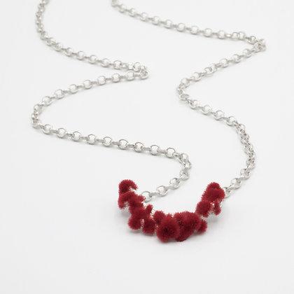 Silver Necklace with Plüsch - Bordeaux