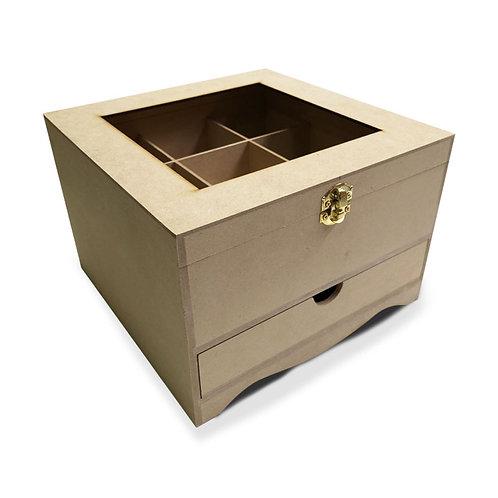 Caja para té de 9 sobres con cajón