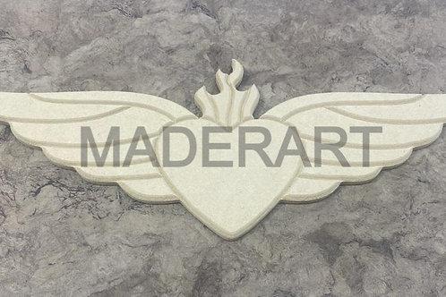 Corazón con alas y llama 9 x 30 cm