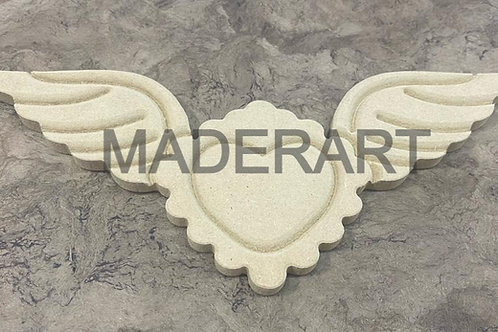 Corazón con alas y olan 10 x 25 cm