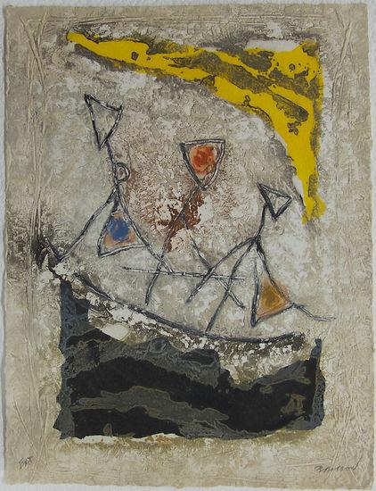 9 Descente à trois, 67 x 52 cm, 1983 #PMB30