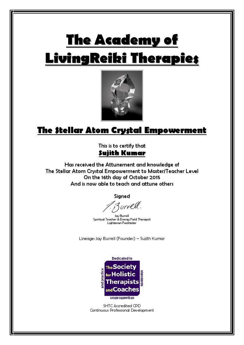 Stellar Atom Crystal Empowerment Certificate with Lineage