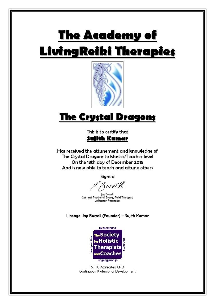 The Crystal Dragons Certificate with Lineage