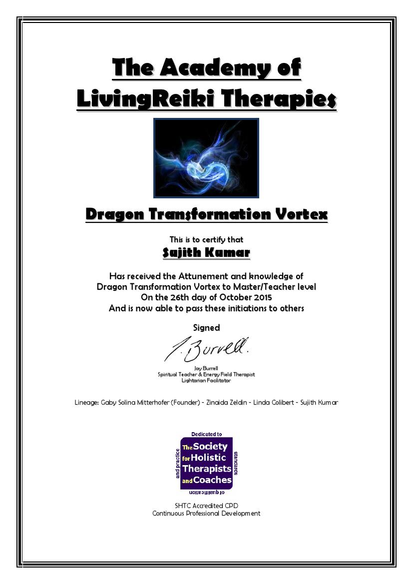 Dragon of Reiki Grand Master Certificate with Lineage