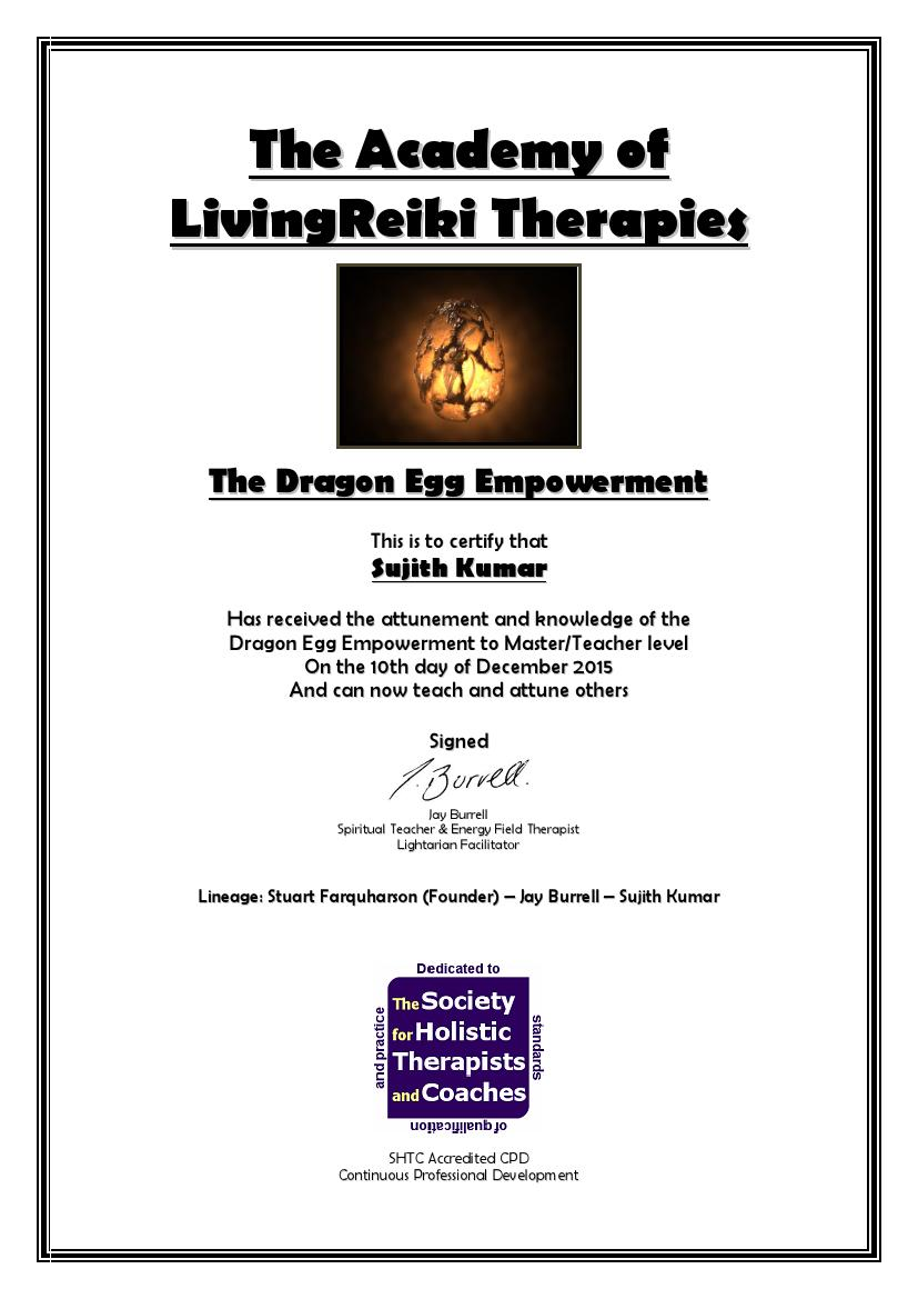 The Dragon Egg Empowerment Certificate with Lineage