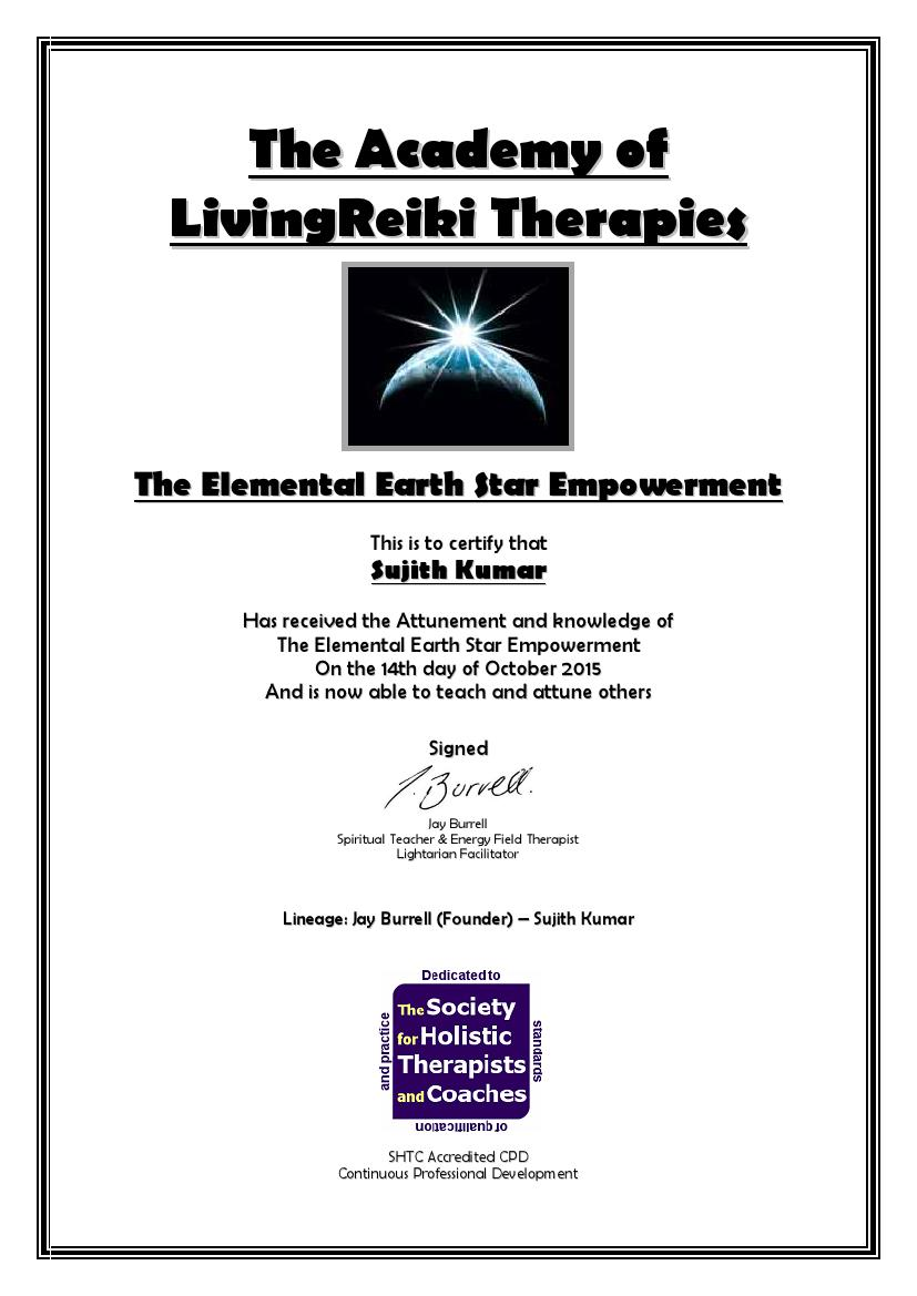 The Elemental Earth Star Empowerment Certificate with Lineage