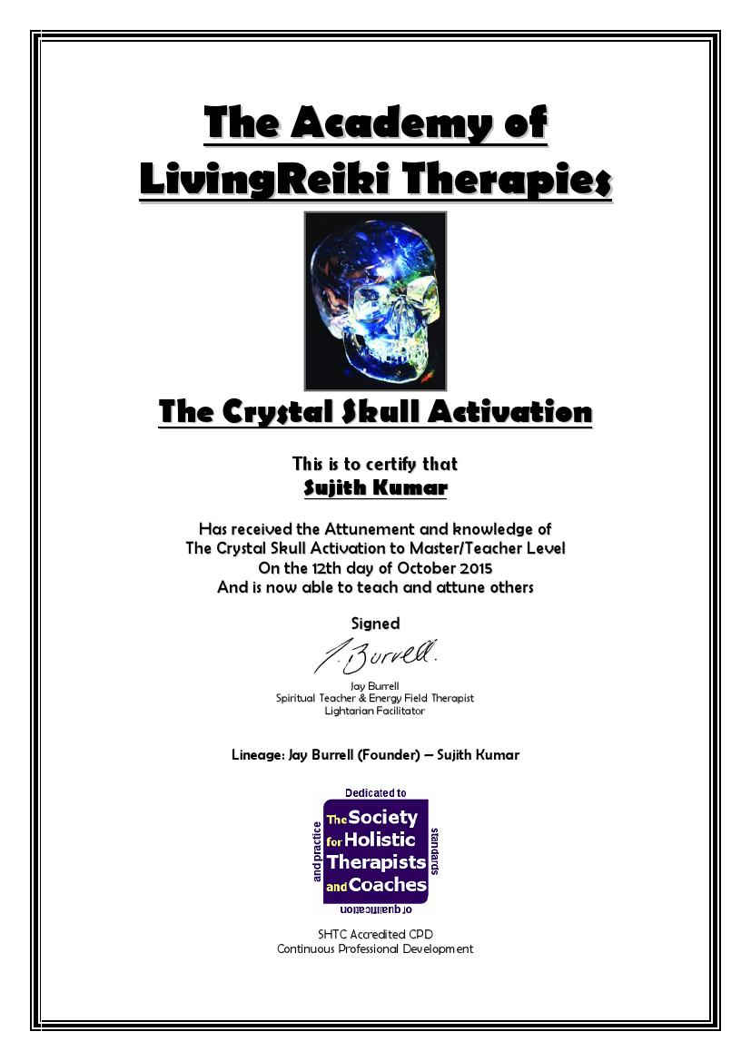 The Crystal Skull Activation Certificate with Lineage