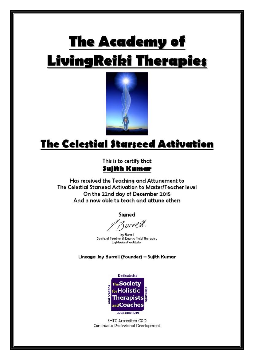The Celestial Starseed Activation Certificate with Lineage