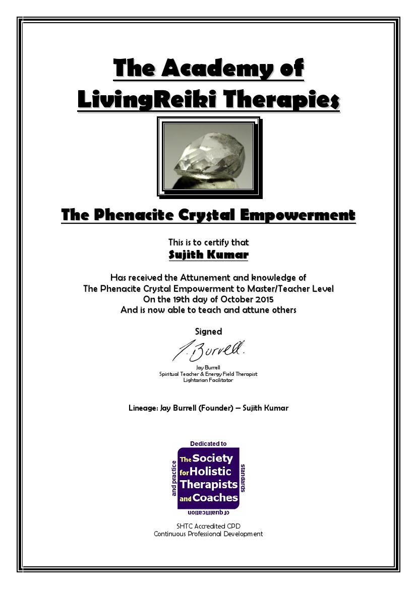 Phenacite Crystal Empowerment Certificate with Lineag