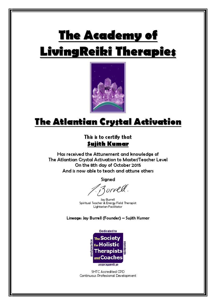 The Atlantian Crystal Activation Certificate with Lineage