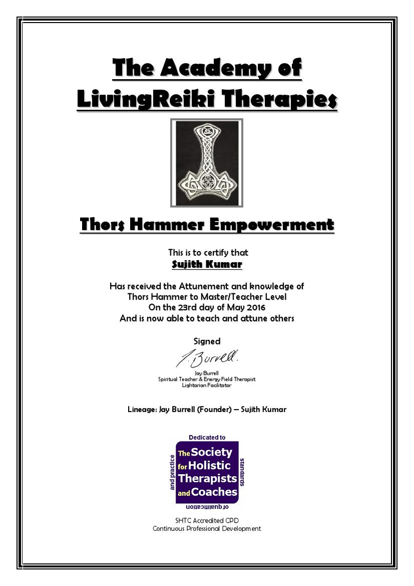 Thors Hammer Certificate with Lineage