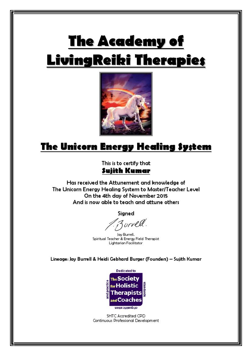 The Unicorn Energy Healing System Certificate with Lineage