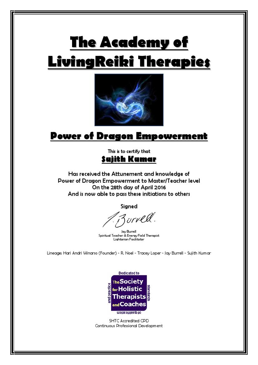 Power of Dragon Empowerment Certificate with Lineage