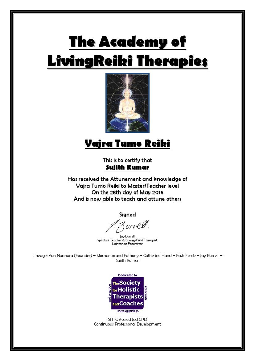 Vajra Tumo Reiki Certificate with Lineage