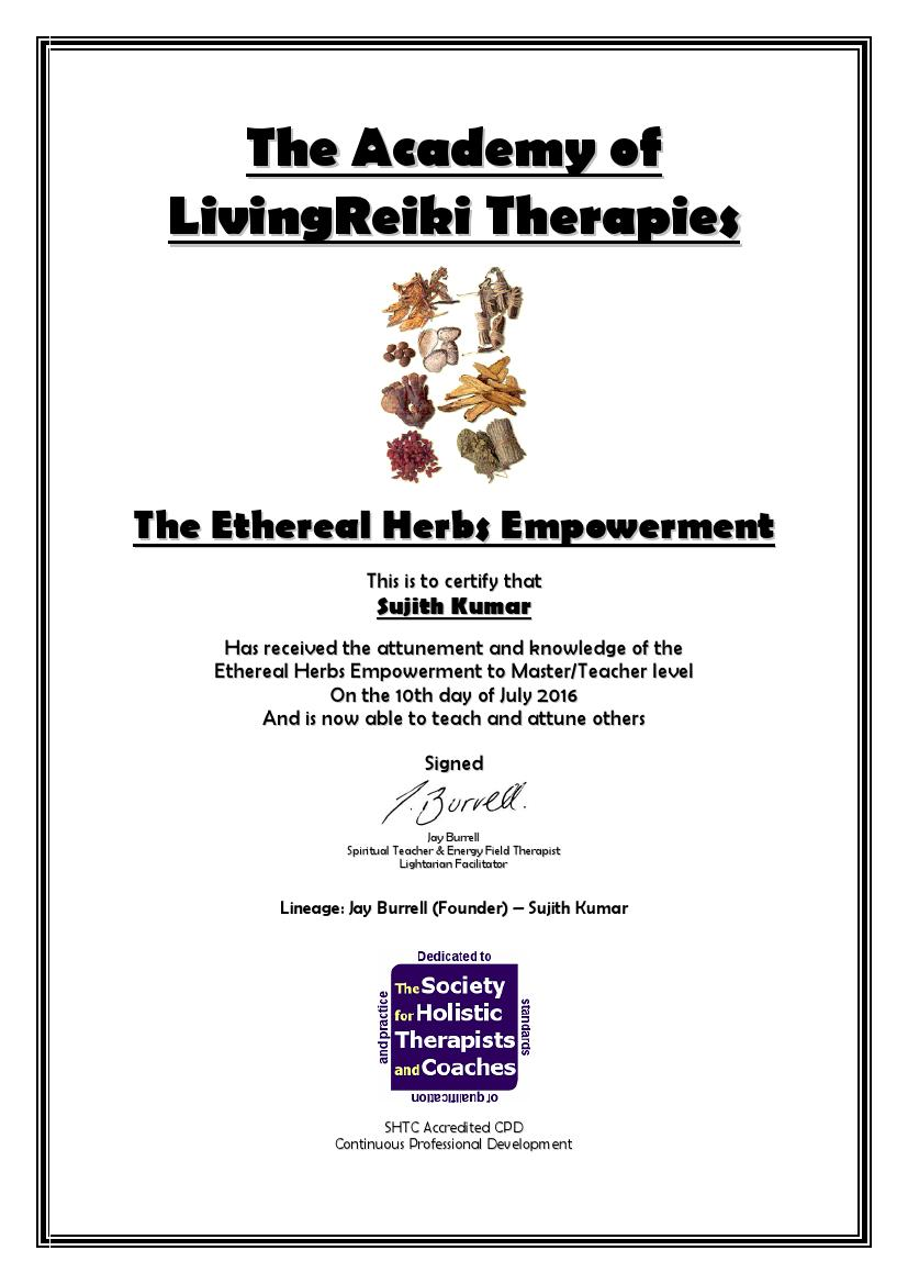 Ethereal Herbs Certificate with Lineage0001
