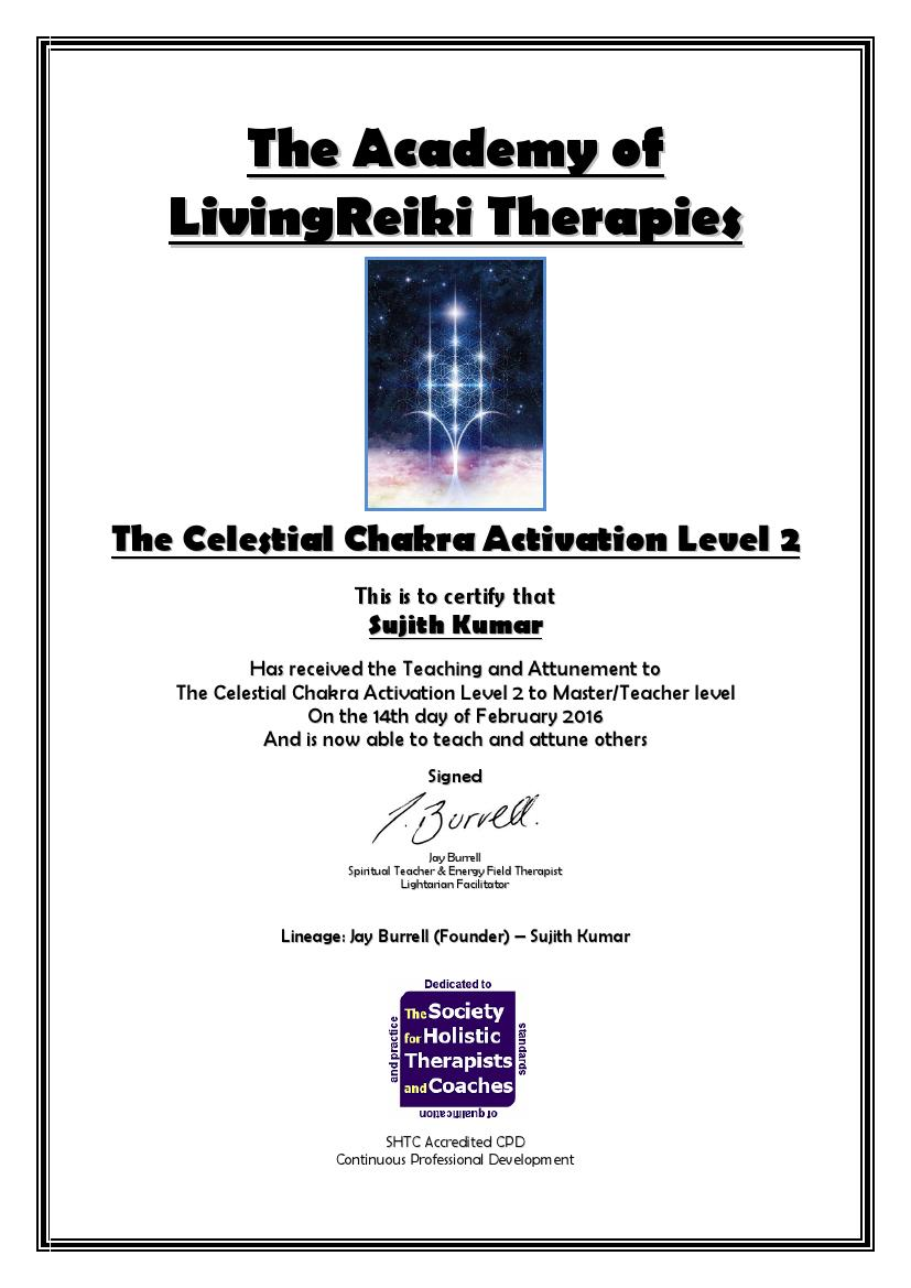 The Celestial Chakra Activation Level 2 Certificate with Lineage