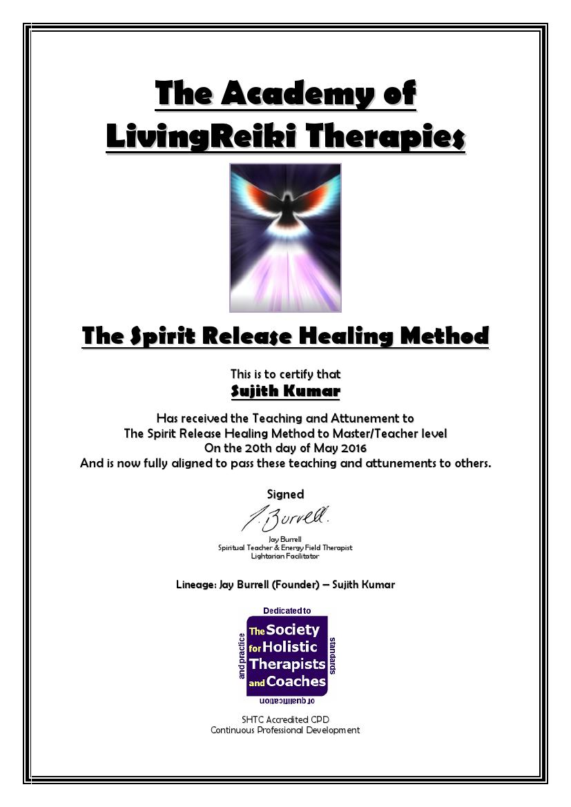 The Spirit Release Healing Method Certificate with Lineage0001