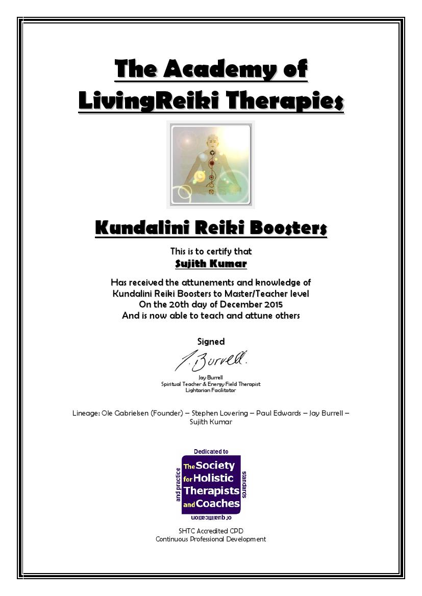 Kundalini Reiki Boosters Certificate with Lineage0001
