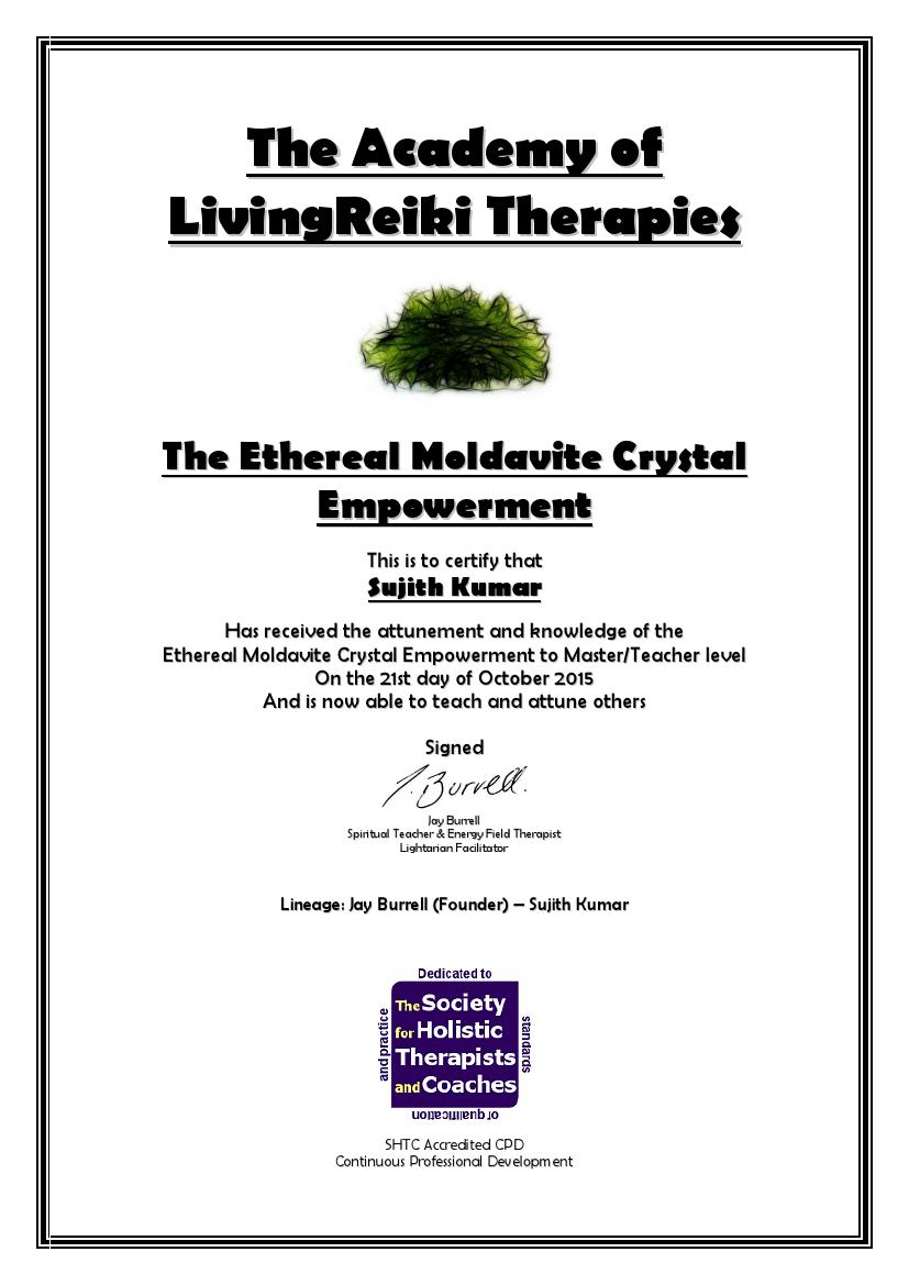 The Ethereal Moldavite Crystal Empowerment Certificate with Lineage