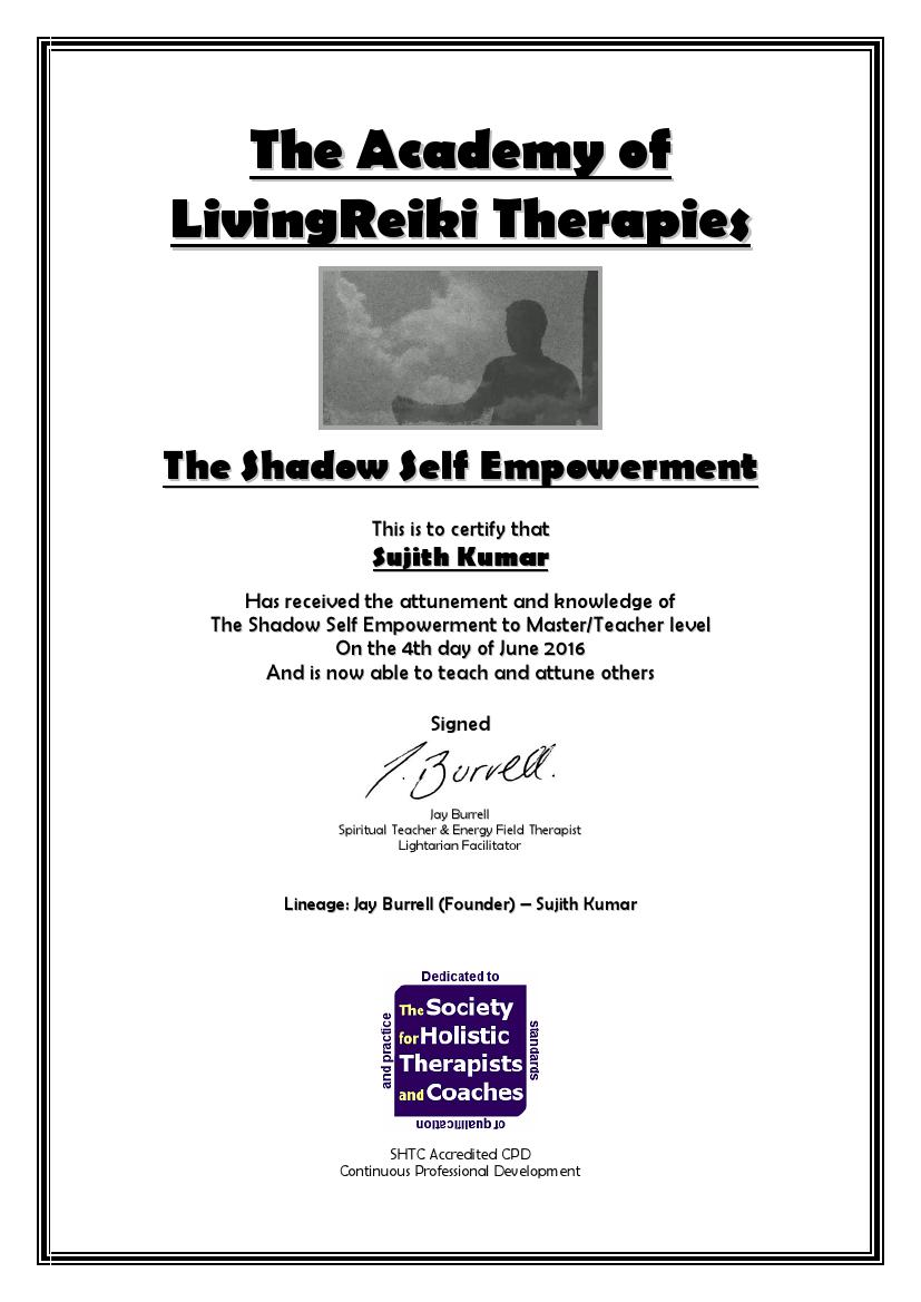 The Shadow Self Empowerment Certificate with Lineage