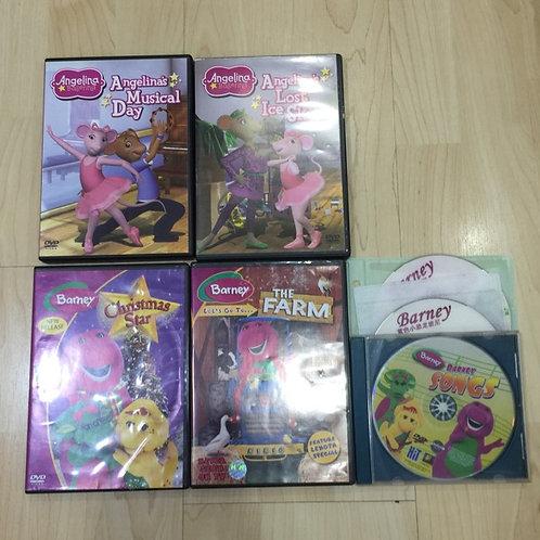 7 DVDs Barney / Angelina Ballerina