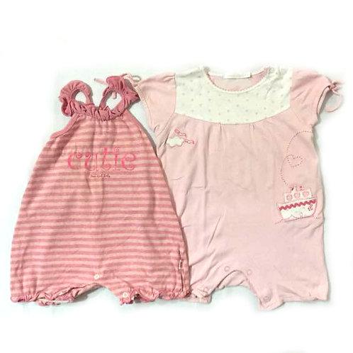 2pcs Size 6-12Mth Girl Rompers Bund