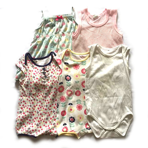 5pcs Size 6-12Mth Girl Tops Rompers Bundle