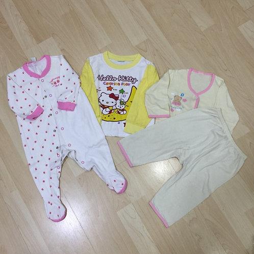 4pcs Size 6-12mth Girl Pyjamas