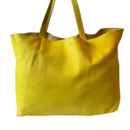 CÈLINE YELLOW CABAS LEATHER TOTE