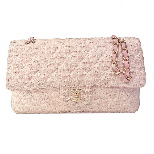 CHANEL PINK & WHITE QUILTED TWEED MEDIUM CLASSIC FLAP