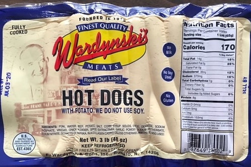 WARDYNSKI TENDER CASING HOT DOGS (FREE PRIORITY OVERNIGHT SHIPPING)