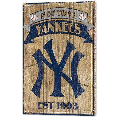 """NEW YORK YANKEES WOOD SIGNS - 1/2"""" THICK 15"""" X 24"""""""