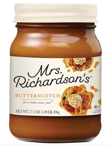 MRS. RICHARDSON'S DESSERT TOPPINGS - BUTTERSCOTCH JAR