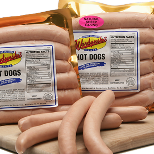 WARDYNSKI NATURAL/SHEEP CASING HOT DOGS (FREE PRIORITY OVERNIGHT SHIPPING)